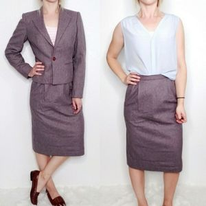 Vintage Purple Wool Striped 2 Piece Skirt Suit Set